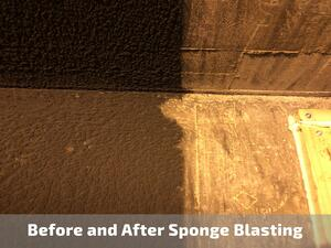 Before and After sponge blasting concrete 1